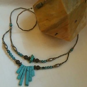Vintage Hand Beaded Turquoise Necklace